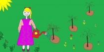 """""""Mėgstu prižiūrėti gėles"""" Luknė Laumakytė, 2 klasė, Radviliškio Vinco Kudirkos pagrindinė mokykla"""