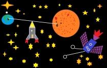 """""""Susisiekimas tarp dviejų planetų"""" Nedas Rudzinskas, 4 klasė, Jonavos pradinė mokykla"""